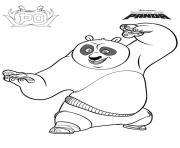 Coloriage Po fait du kung fu se positionne dessin