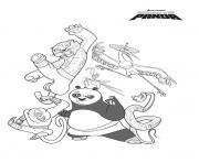 kung fu panda po et les 5 cyclones dessin à colorier