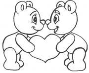 coeur nounours  dessin à colorier