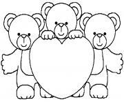 3 nounours coeur dessin à colorier