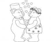 mariage nounours dessin à colorier