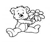 nounours et fleur dessin à colorier
