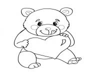 Coloriage ours nounours coeur
