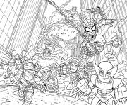 Coloriage avengers mini iron man spiderman captain america hulk kids