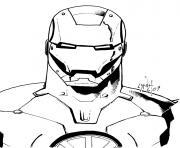 avengers iron man portrait visage robot dessin à colorier
