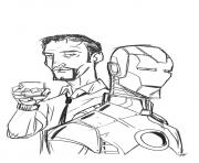 Coloriage avengers iron man portrait