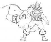 avengers thor en position attaque dessin à colorier