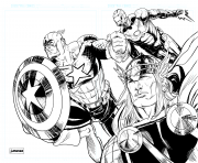 Coloriage iron man thor captain america