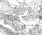 Coloriage jungle jeep car jurassic park