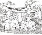 Coloriage 2 dinosaures mangent plantes jurassic park 195 dessin