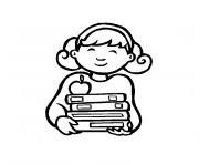rentree maternelle fille etudiante dessin à colorier
