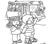 rentree maternelle autobus scolaire dessin à colorier