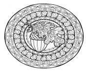mandala gland et feuille de chene par juliasnegireva dessin à colorier