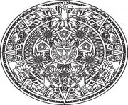 Coloriage mandala inspiration incas maya azteque Bigredlynx