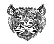 Coloriage adulte tigre zentangle par Alice