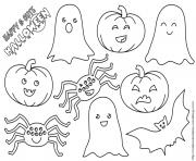 citrouille fantome chauvesouris araignee halloween dessin à colorier