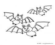 halloween trois chauves souris dessin à colorier