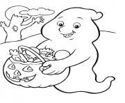 fantome donne des bonbons halloween dessin à colorier