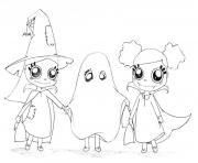 les sorcieres et le fantome halloween dessin à colorier