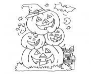 trois citrouilles d halloween empilees dessin à colorier