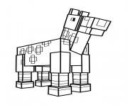 Coloriage minecraft cheval