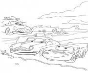 Coloriage flash mcqueen ligne de course