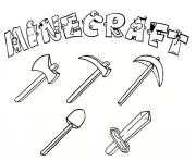 Coloriage minecraft outils
