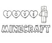 love minecraft dessin à colorier