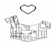 Coloriage love minecraft animaux