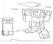 Coloriage minecraft steve and creeper