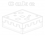 Coloriage minecraft  gateau cake