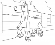 minecraft cheval dessin à colorier