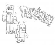 minecraft pokemon dessin à colorier