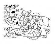 scooby doo et ses amis ont attrape le mechant dessin à colorier