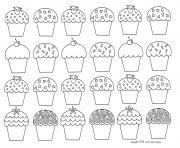 mosaique cupcakes enfantins dessin à colorier