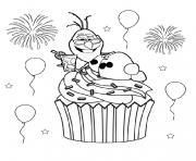 olaf cupcake reine des neiges dessin à colorier