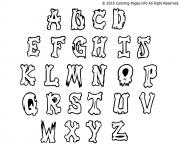 Coloriage graffiti alphabet simple letters