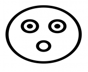 Flashed emoji face outline dessin à colorier