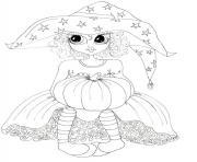 princesse halloween sorciere dessin à colorier