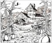 coloriage halloween adulte maison citrouilles