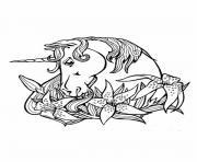 Coloriage licorne avec des ailes dessin