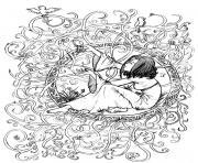adulte zen anti stress a imprimer princesse enfermee dessin à colorier