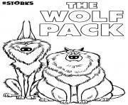 le Wolf Pack du film cigognes et compagnie dessin à colorier