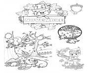 novembre paysage arbre feuille automne dessin à colorier