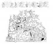 automne enfant novembre dessin à colorier