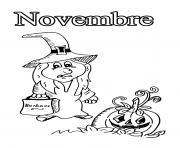 novembre fini halloween dessin à colorier
