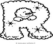 alphabet noel lettre r dessin à colorier