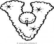 alphabet noel lettre v dessin à colorier