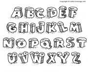 alphabet noel lettres avec neige dessin à colorier