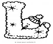alphabet noel lettre l dessin à colorier